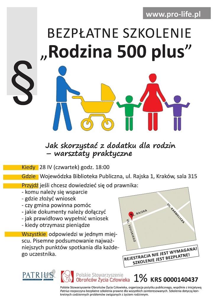 Plakat szkolenie 500+